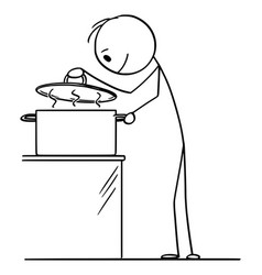 Cartoon hungry curious man or cook looking on vector