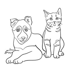 cat and dog line art 3 vector image
