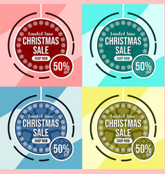 christmas sale banner template 4 color scheme vector image