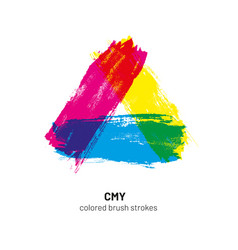 cmy colored brush strokes vector image