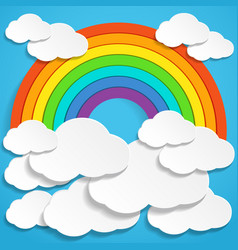 colorful rainbow and clouds in blue sky vector image