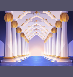 Corridor with columns and arches in palace vector