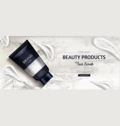 cosmetic scrub bottle mockup cosmetics product ad vector image