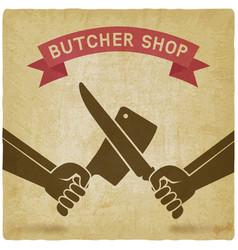 crossed butcher knives old background vector image