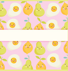 cute food pattern design banner fried eggs pear vector image