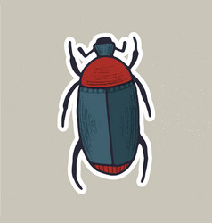 Cute hand drawn bug sticker vector