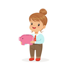 cute happy little girl businesswoman holding a vector image