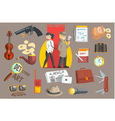 Detectives and their equipment objects set vector