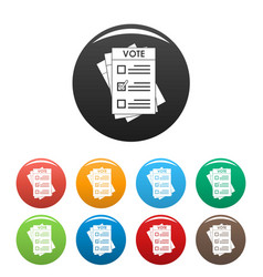 election paper icons set color vector image