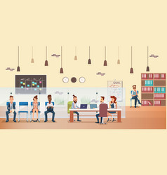 employee queue people work by desk at office vector image