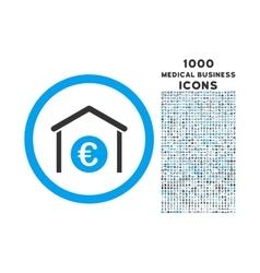 Euro Storage Building Rounded Icon with 1000 Bonus vector