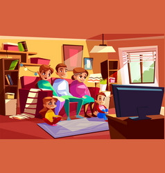 Family watching tv cartoon vector