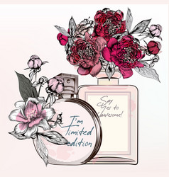 fashion with perfume bottles roses peony flowers vector image