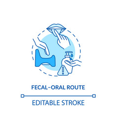 Fecal oral route turquoise concept icon vector