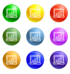 finance laptop icons set vector image
