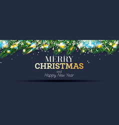 fir branches with neon lights and snowflakes vector image