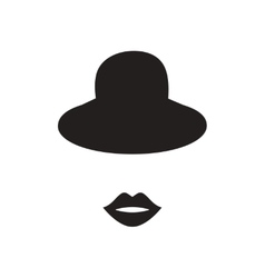 Flat icon in black and white female hat lips vector