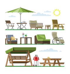 Garden furniture table chair seat on vector