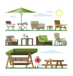 Garden furniture table chair seat vector