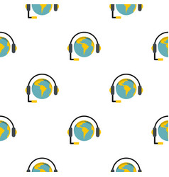 Globe with headset pattern flat vector