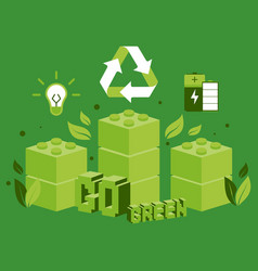 green bio energy and recycling concept vector image