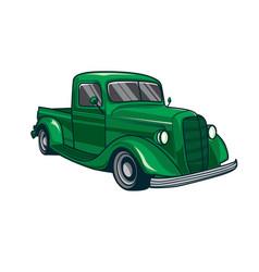 Green classic truck car vector