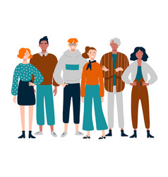 Group diverse young middle-aged people vector