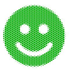 halftone dot glad smile icon vector image