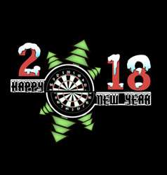 Happy new year and darts board vector
