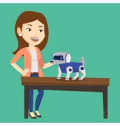 Happy young woman playing with robotic dog vector
