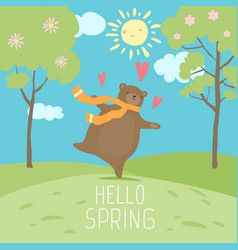 hello spring forest landscape cute bear love vector image