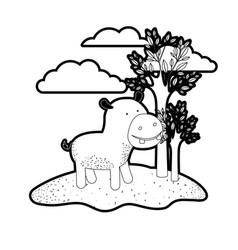 Hippopotamus cartoon in outdoor scene with trees vector