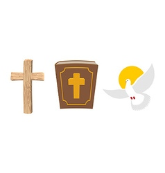 Holy Bible wooden cross and White Dove Christian vector