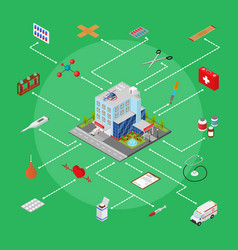 hospital building with equipment concept isometric vector image