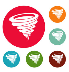 hurricane icons circle set vector image
