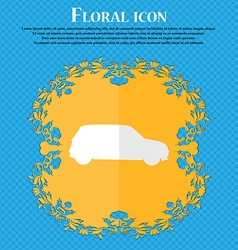Jeep floral flat design on a blue abstract vector