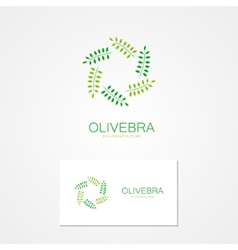 logo green branch arranged in a circle vector image