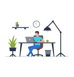 man is working at his laptop vector image