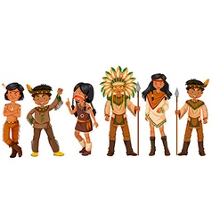 Many native american indians in costumes vector
