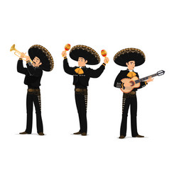 Mariachi mexican musicians band cartoon characters vector