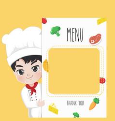 Menu chef boy vector