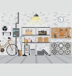 modern interior storage room with metal shelf vector image