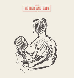 Mother holds baby in her arms drawn sketch vector