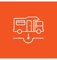 Motorhome and sump line icon vector