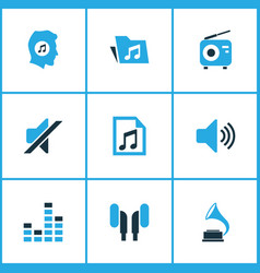 Multimedia colored icons set collection of mixer vector