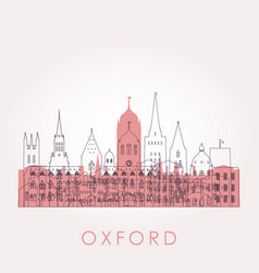 outline oxford skyline with landmarks vector image