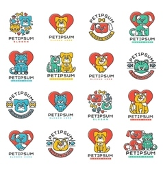 Pet badge cat and dog veterinary set vector