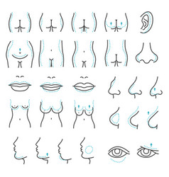 plastic surgery icons vector image