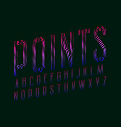 Points alphabet blue pink gradient dotty font vector