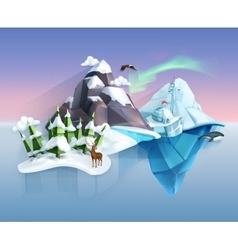 Polar nature winter wonderland vector image